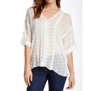 ZOA New York Ivory Embroidered Silk Blouse